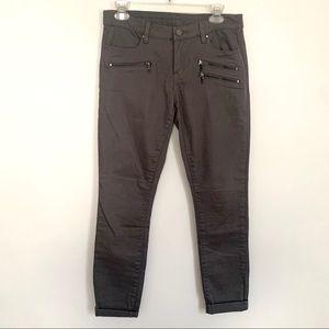 Blank NYC gray zipper detail skinny moto jeans 28